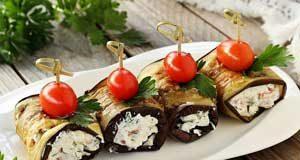 Закуска из баклажанов с сыром и помидорами