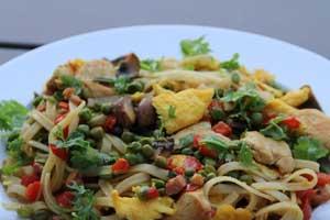 Лапша с курицей и овощами по-сингапурски